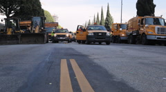 Los Angeles marathon municipal street sweepers - stock footage