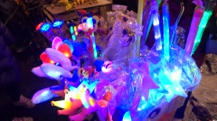 Flower Market,festival neon light,lamp,children,Chinese New Year Stock Footage