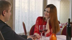 Man and girl romantic evening in restaurant love woman drinking wine, Valentine Stock Footage