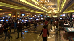 Macau casino interior, tourism, gambling, betting, money laundering, China Stock Footage