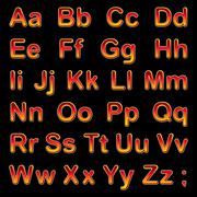 Alphabet letters on a black background - stock illustration