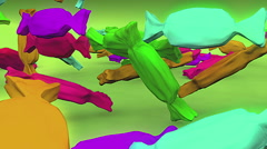 Candy falling on ground sweet Stock Footage