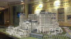 New casino resort scale model, real estate, development, Macau, China Stock Footage