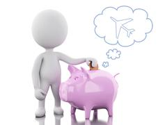 3d White people with Piggy bank, thinking of holidays. Stock Illustration