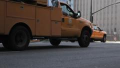 Street services trucks driving Stock Footage