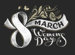 International Women Day 8 march. Chalk lettering - stock illustration