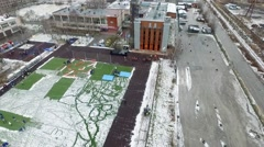 Quadrocopter shoot field for practice Ministry of Emergency Situations. Snow Stock Footage