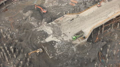 Overhead view into a large construction pit in Wuhan, China Stock Footage