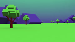 Digital world cartton trees landscape Stock Footage
