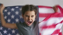 girl shouting teen holding usa American flag Independence Day - stock footage