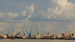 Large Cargo City Sea Port Working Cranes Boats Drift Stock Footage
