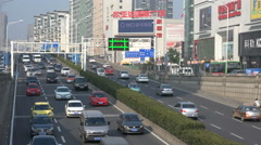 Busy highway, transportation, infrastructure, Wuhan, central China Stock Footage