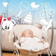 Stock Photo of Newborn sleeping in baby swing