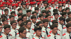 Chinese students take part in disciplinary military parade at university Stock Footage