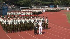 Chinese army and navy personnel train freshmen at the Wuhan University - stock footage