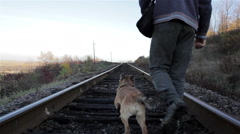 homeless goes by rail - stock footage