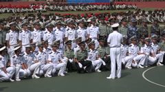 Army navy officers get instructions from superior, student military parade China Stock Footage