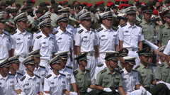 China patriotism, nationalism, military navy personnel, army drill, Asia Stock Footage