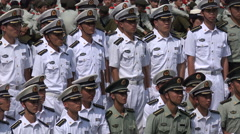Navy marine corps officers, military parade at Wuhan university in China Stock Footage
