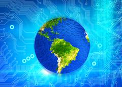 Colorful earth on motherboard background Stock Illustration