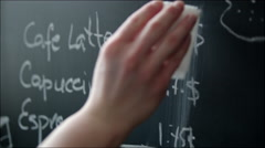 Changing Prices in Coffeehouse Menu on the Chalkboard Stock Footage