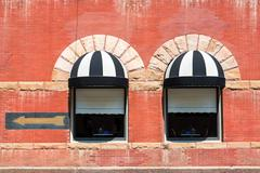 Two Windows in Deadwood, South Dakota - stock photo