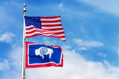 American and Wyoming State Flag Stock Photos