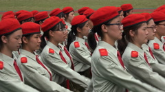 Chinese girls military parade, government, compulsory, campus, university Stock Footage