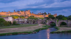 Timelapse of Carcassonne at sunset time Stock Footage
