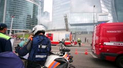Fire fighters exercises at Moscow International Business Center. Stock Footage