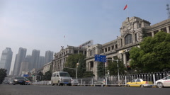 Colonial architecture, Chinese banks, financial institutions, Wuhan traffic Stock Footage