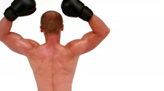 Rear view of boxer raising arms Stock Footage
