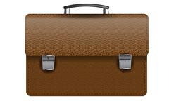 Brown leather briefcase isolated on white photo-realistic vector illustration Stock Illustration