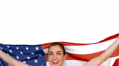 Happy athlete holding American flag Stock Footage