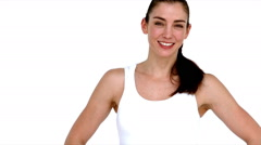 Smiling fit woman showing thumbs up Stock Footage