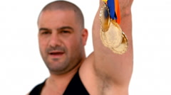 Happy athlete holding medals Stock Footage