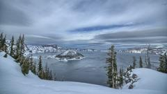 Wide angle landscape time lapse Crater Lake National Park, Oregon, Winter Snow   Stock Footage