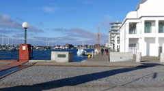 View over the area along the seaside in Helsingborg Stock Footage