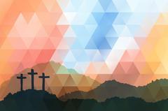 Easter scene with cross. Jesus Christ. Polygonal vector design Stock Illustration