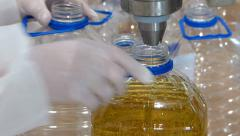 Bottling Sunflower Oil - stock footage