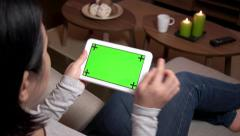 Ipad Digital Tablet Computer Technology Green Screen Monitor Email Internet Stock Footage