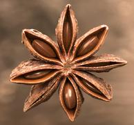 Star Anise on a brown background - stock photo