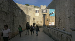 People walking on Vatra od Pila street in Dubrovnik Stock Footage