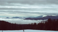Fog drifts over Diamond Lake in the Oregon Cascade Mountains Time Lapse Stock Footage