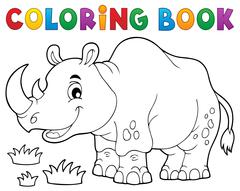 Coloring book rhino theme image - eps10 vector illustration. - stock illustration