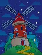 Hill with windmill at night - eps10 vector illustration. - stock illustration