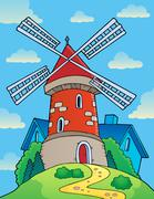 Hill with windmill theme - eps10 vector illustration. Stock Illustration