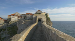 View of an open door on the City Walls in Dubrovnik Stock Footage