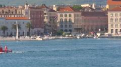 Riva, Split's promenade with Little Red Semi Submarine - stock footage