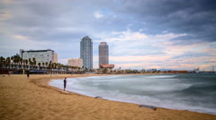Timelapse of beautiful Port Olimpic in Barcelona, Spain Stock Footage